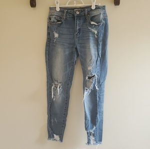 Vici distressed frayed ankle denim